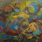 NENUFARY, Martyna Kliszewska, 80x90cm, olej na płótnie, kolekcja prywatna USA