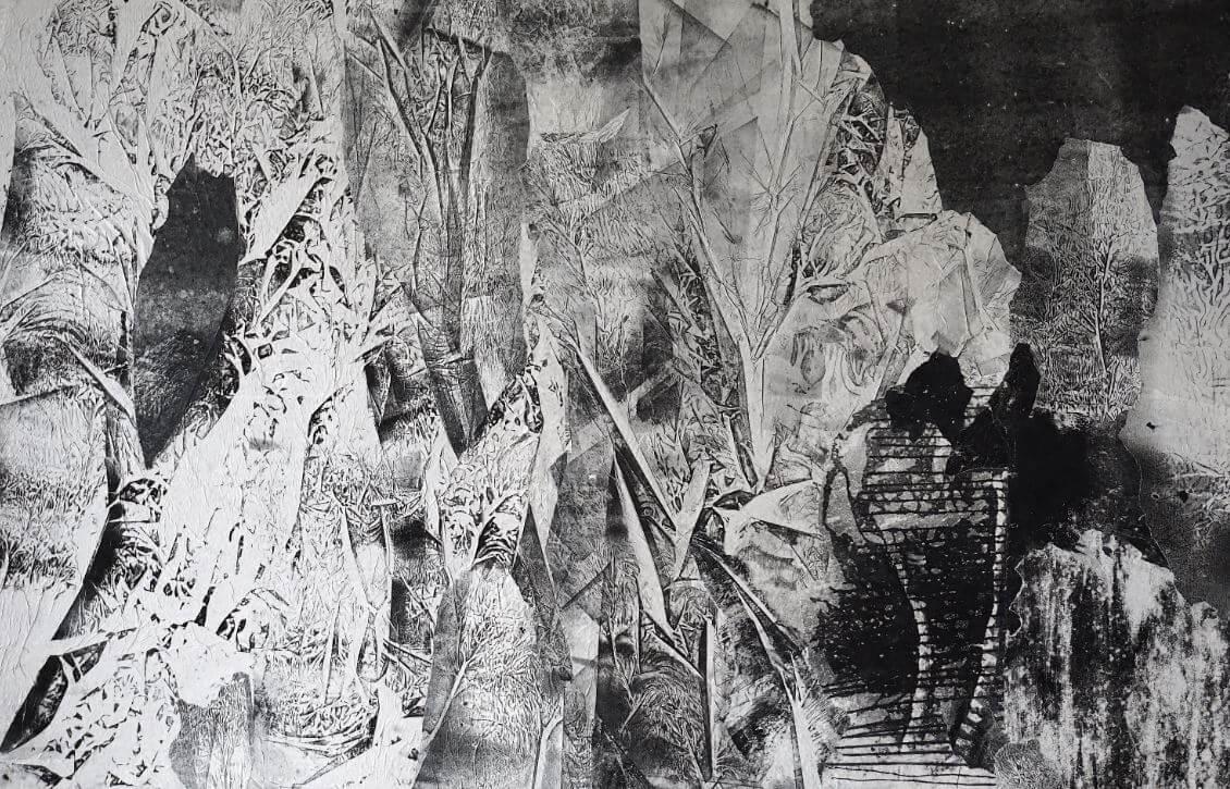 JANUARY, Martyna Kliszewska, monotypia, kolaż, papier, karton, 85x130cm, 2017r.