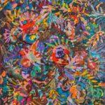 MAKI W ZBOŻU NOCĄ, Martyna Kliszewska, 100x80cm, olej na płótnie