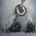 Pingwiny 60x45cm, akryl na płótnie